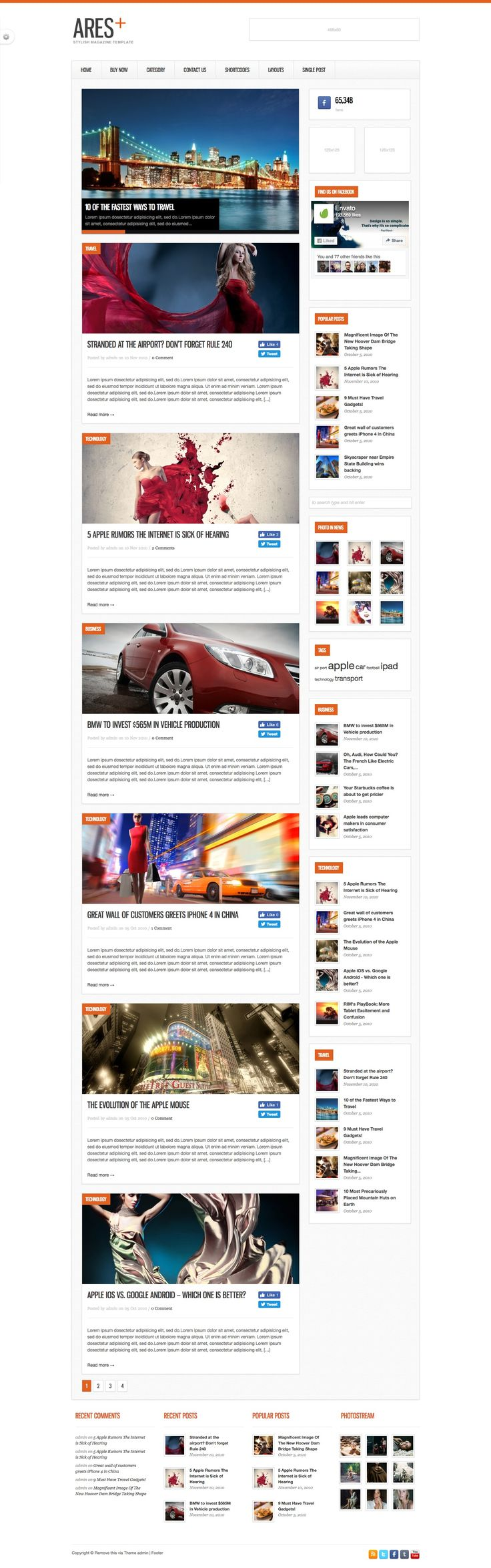 Ares is The Clean Magazine, News and Blog Template built with latest Wordpress features.
