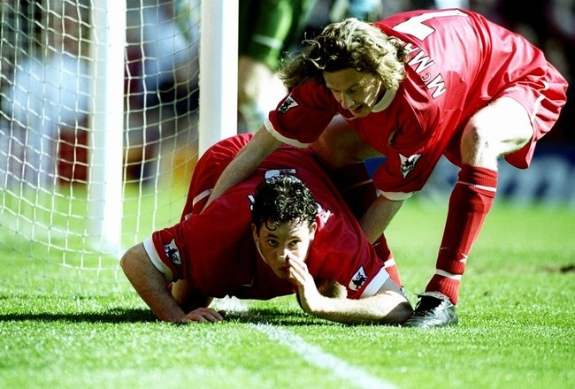 Robbie Fowler - Snorting a line against Everton back in 1999. #LFC