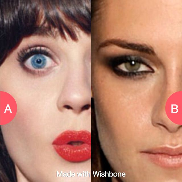 Have Chloe Deschanel or Kristen Stewart's eyes? Click here to vote @ http://getwishboneapp.com/share/12330866