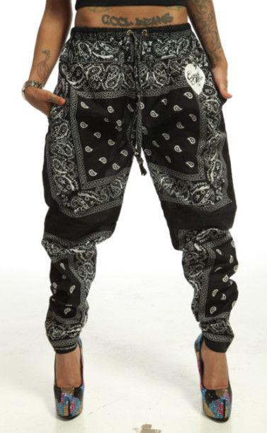 Pants: trill, joggers, bandana, black, white, tattoos, swag, cupcake mafia, mens wear, harem pants, bandana pants, bandana print, bandana jogger pants, leggings, sexy swag, joggers pants - Wheretoget
