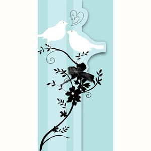 20898044 - Two Love Birds Invitations - Pack of 8 Two Love Birds Invitation, Gatefold with Ribbon - Pack of 8. Please note: approx. 14 day delivery time.