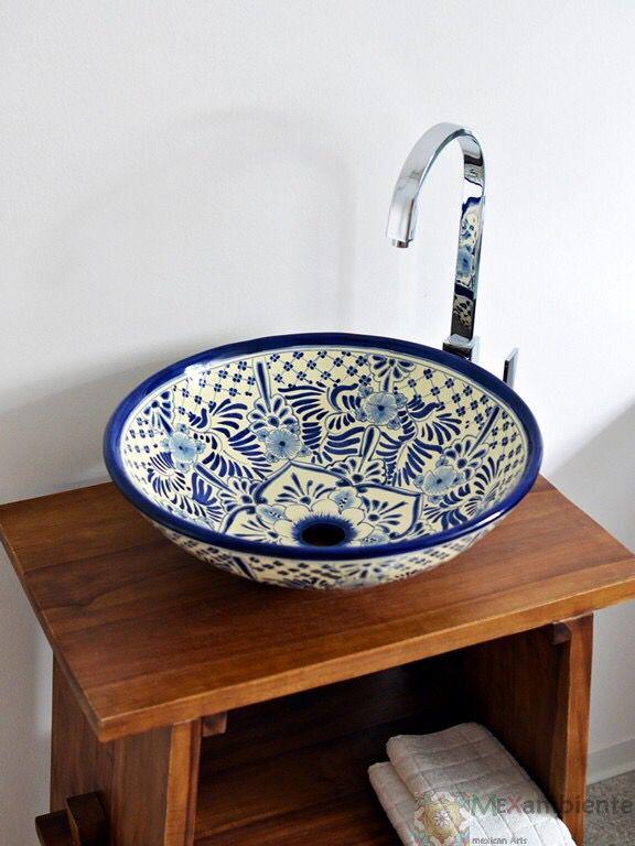 Landhausstil Waschbecken aus Mexiko handbemalt Modell Imperial von Mexambiente in Deutschland bestellbar www.mexambiente-shop.com