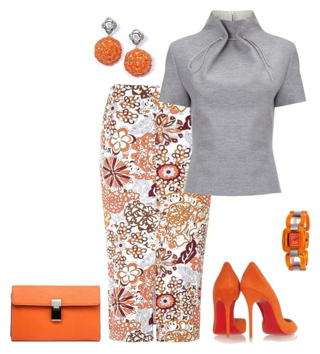 """outfit 2333"" by natalyag ❤ liked on Polyvore featuring Glamorous, Christian Louboutin, J. JS Lee and Nixon"