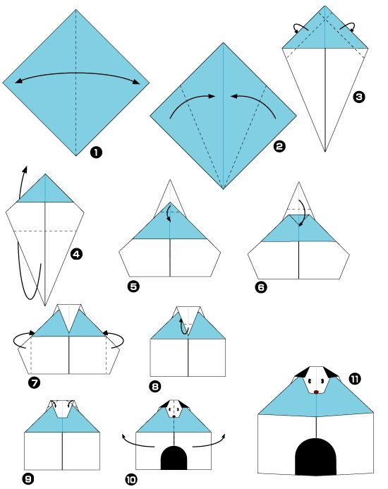 doghouse from kite base origami pinterest