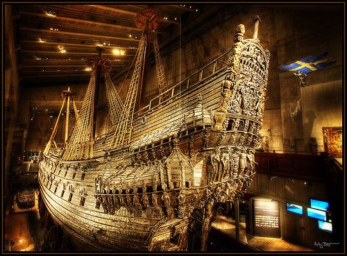 This is the Swedish warship Vasa, it sank in 1628 on its maiden voyage and was recovered from the ocean in 1961 almost completely intact.   This ship is housed in The Vasa Museum in Stockholm Sweden.     .