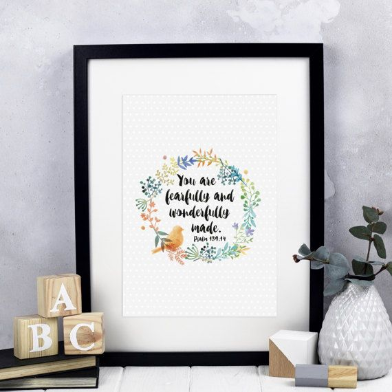 You Are Fearfully and Wonderfully Made Print  Christian Gifts