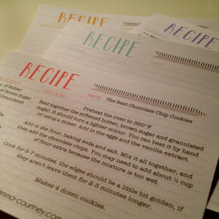 Emma Courtney: Recipe Card Printables