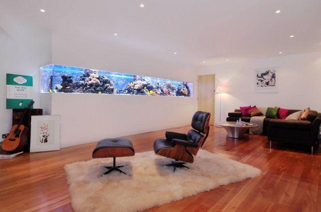 aquarium bauideen wohnzimmer wand integriert