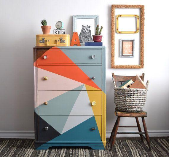 Multi Coloured Tallboy Dresser by Poppyseedliving on Etsy