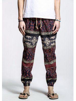 Vintage Style Color Block Totem Pattern Pants