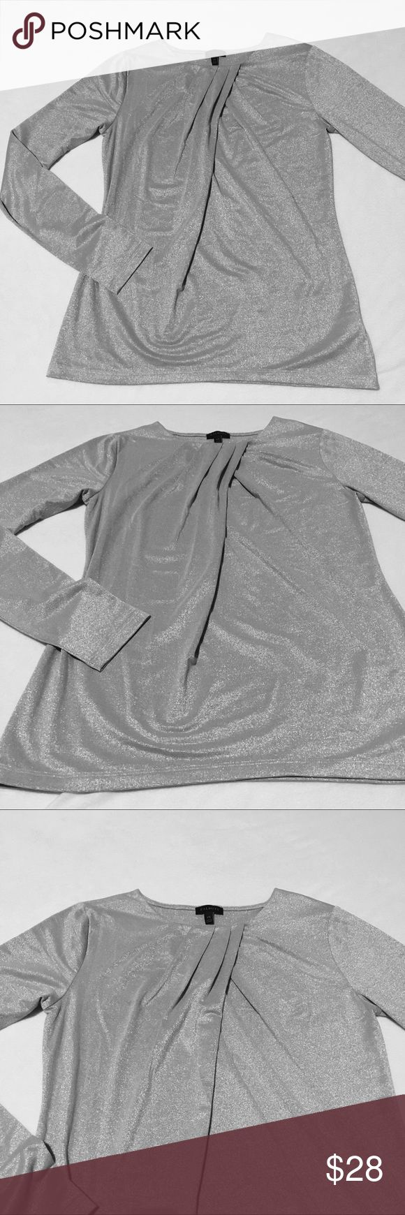 ✨NWOT✨Talbots Shimmery Silver Blouse This gorgeous top will make you shine! 🌟 Lightweight and drapes on body perfectly. Pretty detailing on front top. Pair this with black pants and you are perfect! Perfect condition! NWOT! Talbots Tops Blouses