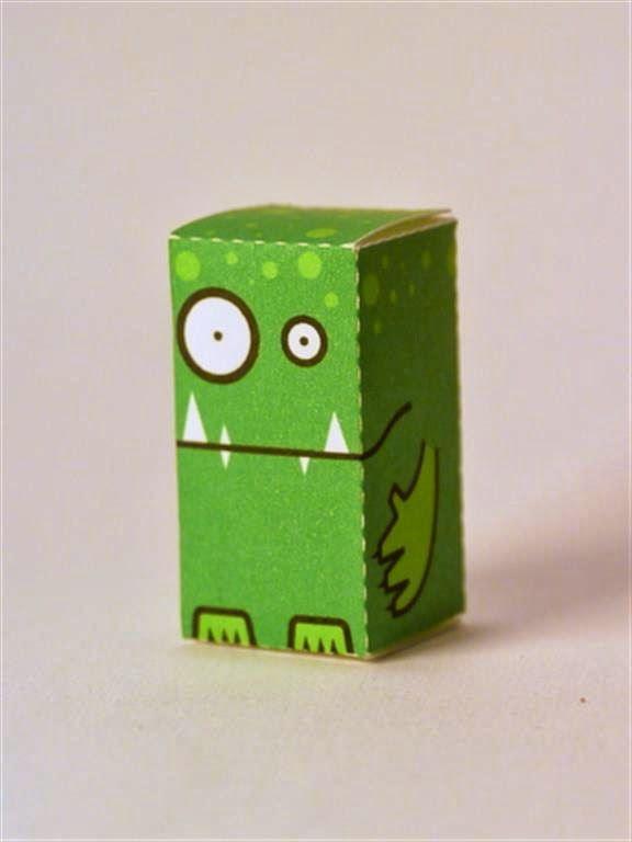kerajinan gunting/tempel anak TK/SD, membuat sendiri kotak souvenir permen, monster hutan