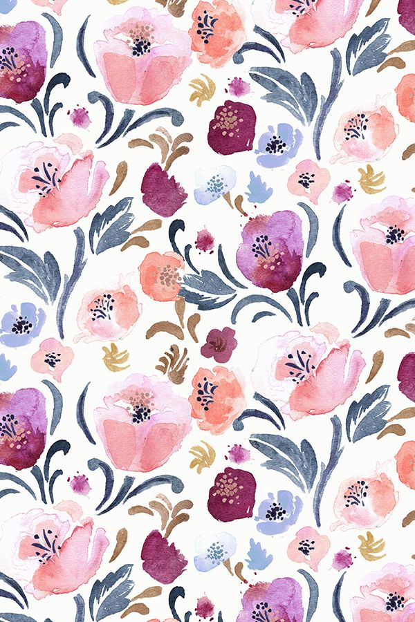 Autumn Blush floral design by Crystal_Walen - Hand painted watercolor floral pattern in shades of pink and blue on fabric, wallpaper, and gift wrap.  Painterly floral pattern in deep muted shades perfect for brightening up a living room or dinner party!