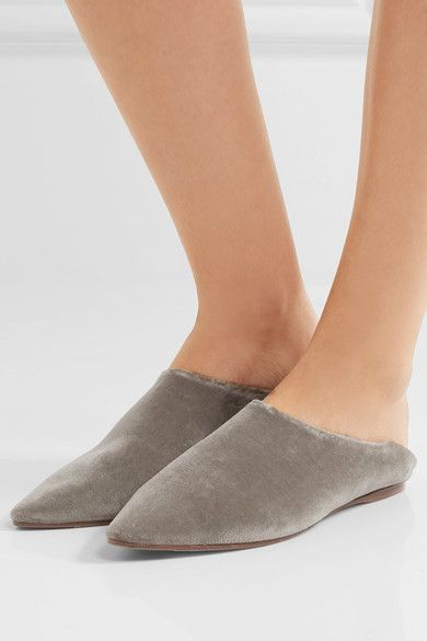 Acne Studios - Amina Collapsible-heel Velvet Loafers - Taupe