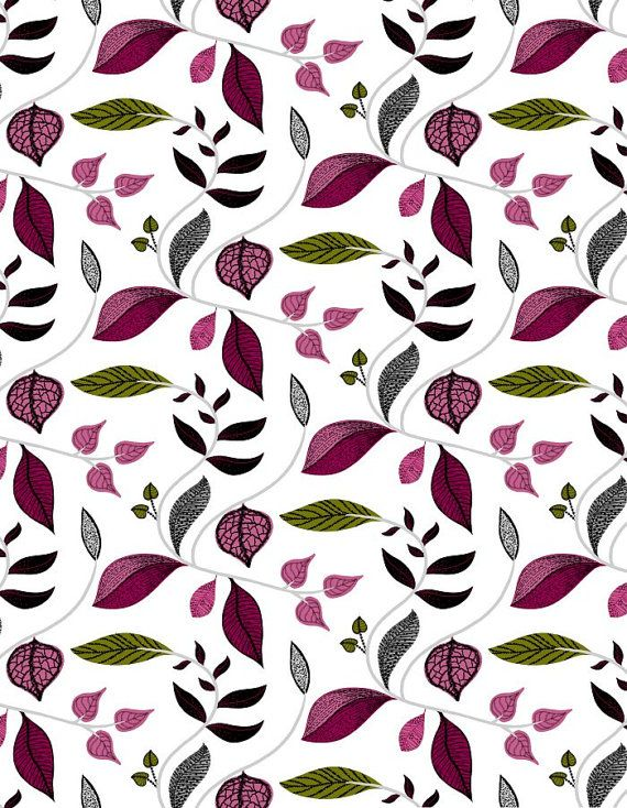 Tablecloth white pink grey green leaves Botanical by Dreamzzzzz