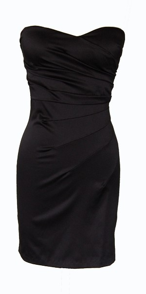 Black Strapless Gathered Cocktail Dress   cheap dresses