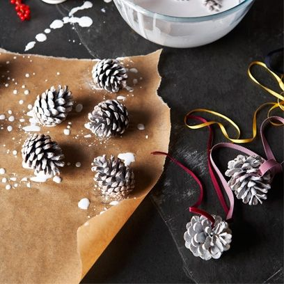 How to make whitewashed Christmas pine cone decorations   Christmas pine cones - Red Online
