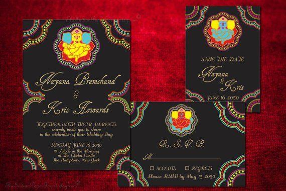 Indian Wedding Card Invitation Set Ganesha Save The Date