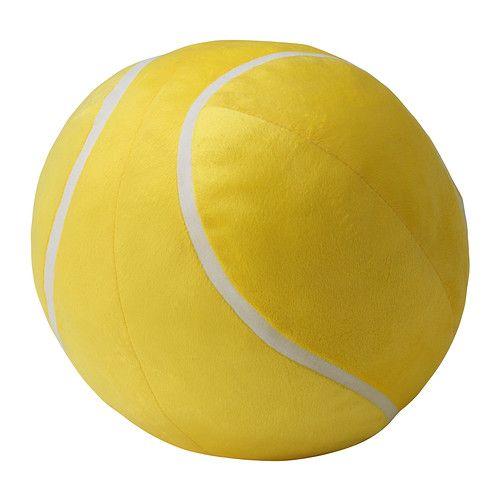 Een kussen in vorm van een tennisbal. Ook te koop in een bowlingbal en basketbal.