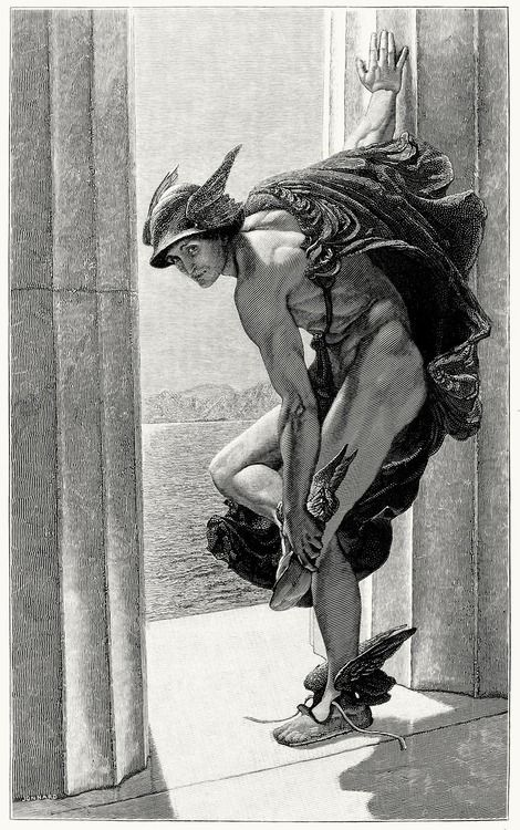 William Blake Richmond 1886 Hermes, a.k.a. Mercury...    As one named Mercury, if I had a pair of those shoes and that hat and cape, I could be the spit and image of this picture.  Yeah, right!  Maybe if Mercury was older, flabbier, and waaaay more clothed...