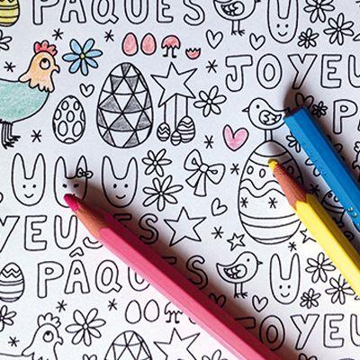 Surprise : Coloriage miniature Joyeuses Pâques !