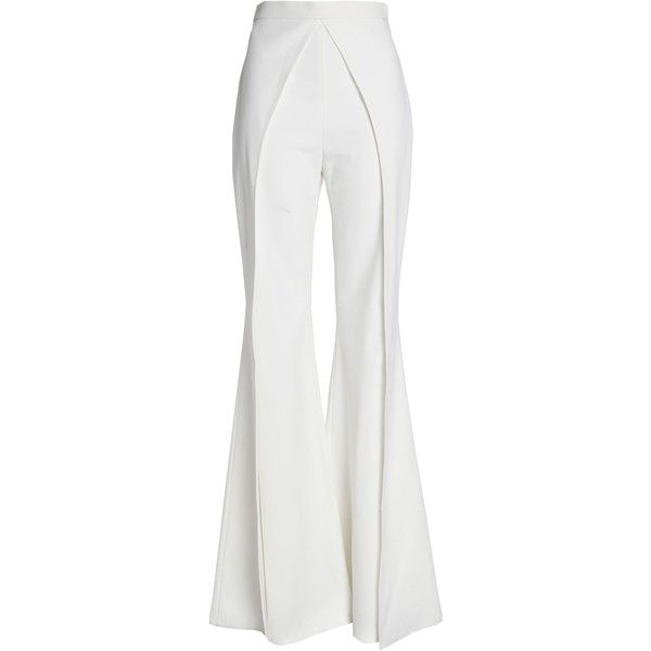 0ad16ecf1d28b Balmain Satin-crepe flared pants (£600) ❤ liked on Polyvore featuring pants,  white, high-waist trousers, high waisted flared trousers, high rise pants,  ...