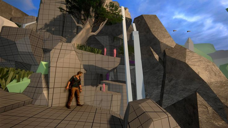 Uncharted 4 block-mesh level with final Drake