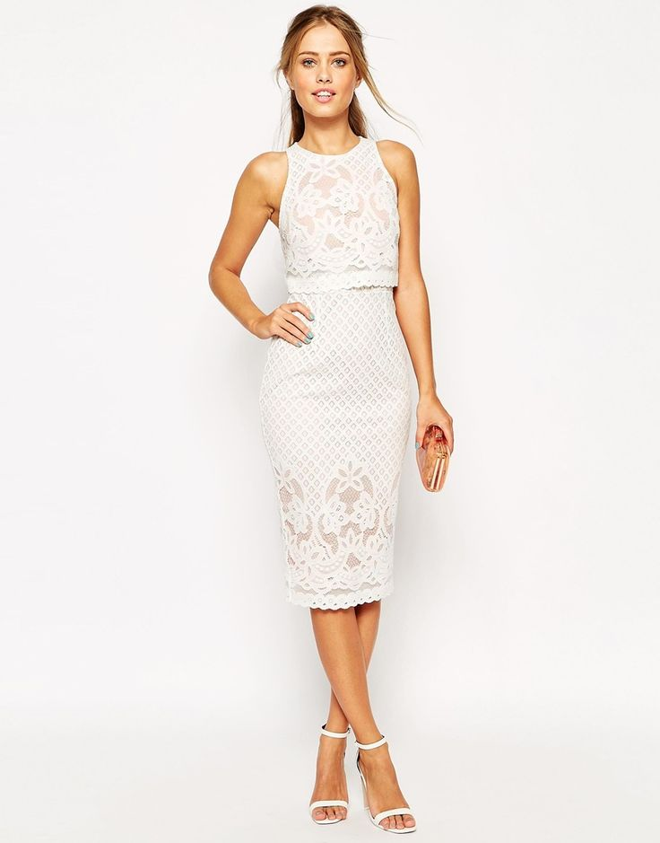 Image 1 of ASOS Floral Lace Crop Top Body-Conscious Midi Pencil Dress