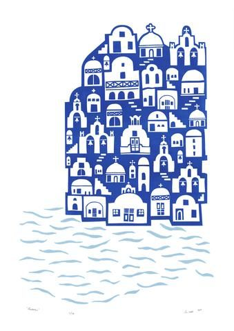 """""""Santorini"""" Limited Edition Silkscreen Print by Lu West. """"The Greek Island of Santorini is one of the most beautiful places on earth. White washed houses and blue-domed churches cling to dramatic cliffs with the deep blue sea below."""""""