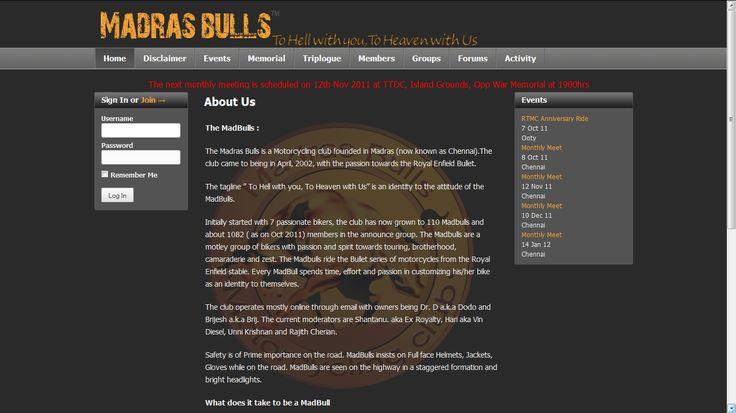 MadrasBulls - Website Development