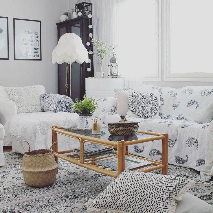 Boheemin rentoa tyyliä olohuoneen sisustukseen