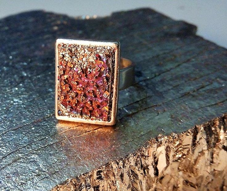 Bismuth Crystal in a Silver Plated Ring - Ring - prototype ring - Bismuth Ring by GoldenValantine on Etsy