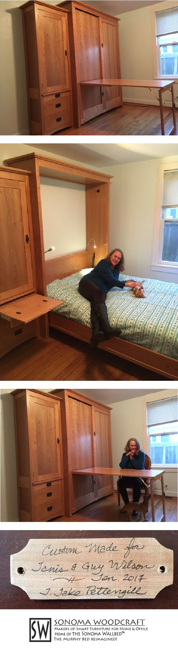 Janis and Guy transformed a room in their home with this Sonoma Wallbed system. Cabinet doubles as a table when the bed is closed. Open it's a comfy queen with nightstand and flexible LED reading lamps. It's in the Craftsman style with cherry wood.