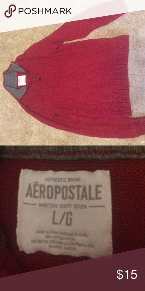 Aeropostale red men's pullover sweater quarter zip Good condition red with gray on collar Aeropostale Sweaters Zip Up