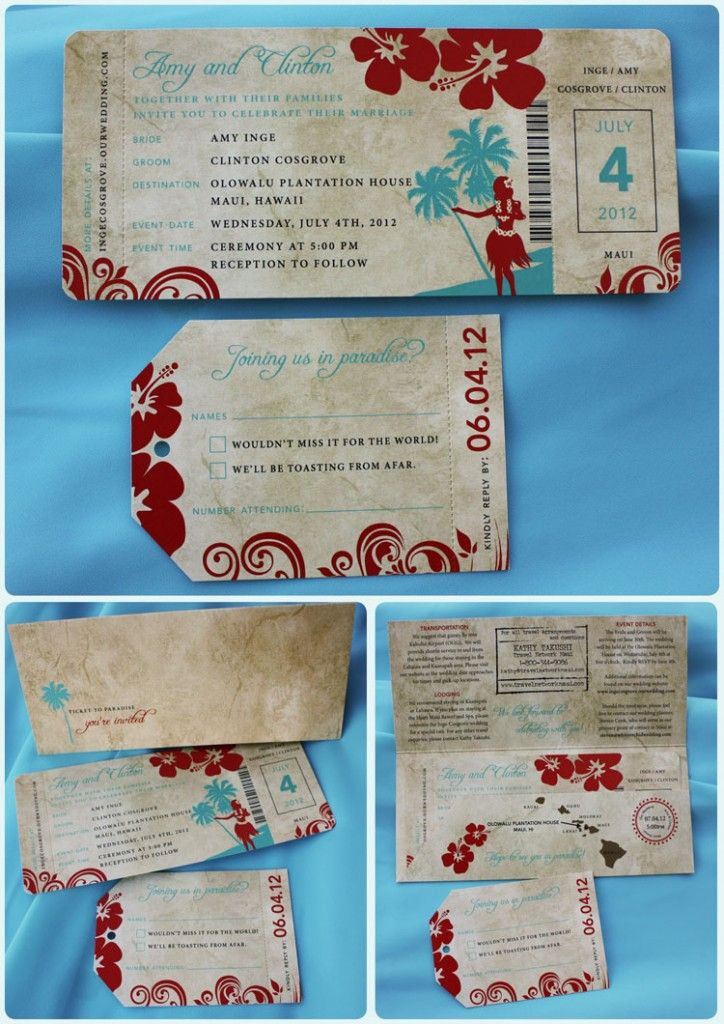 Turquoise & Red Hibiscus, Palm Tree and Vintage Hula Girl Hawaiian Airline Ticket Wedding Invitations