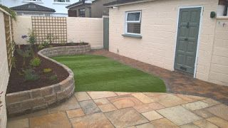 GreenArt Landscapes Garden design,construction and maintenance Blog: Low maintenace garden with synthetic lawn & sandstone patio,raised beds .Garden makeover, Georgian Close Drogheda co.Louth