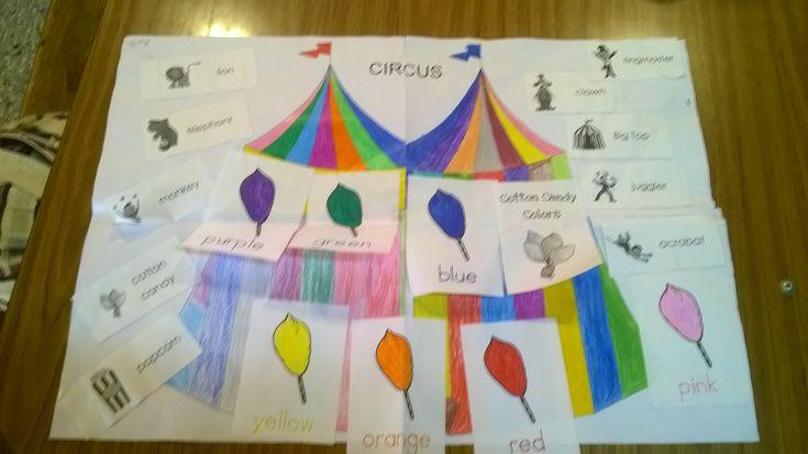 Rompecabezas para aprender sobre el circo. Tambien se pueden imprimir tarjetas personales para cada alumno para poder jugar al bingo y poder practicar vocabulario.
