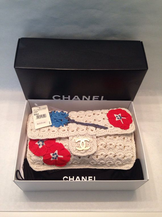 CHANEL Handbag Authentic 10P Runway Camellia Flap Crochet Bag New With Tags  Box