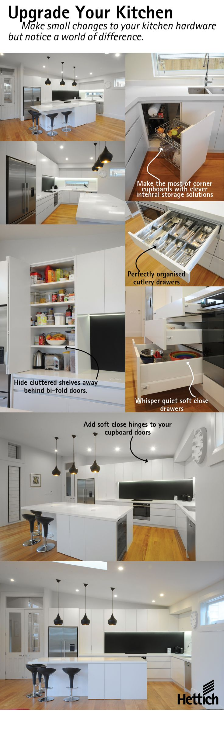 Want to improve your kitchen but can't afford a full make over? Why not simply change the hardware! By upgrading your hardware you will notice a world of difference. Click on the pin to find out more about Hettich products. #kitchenstorage
