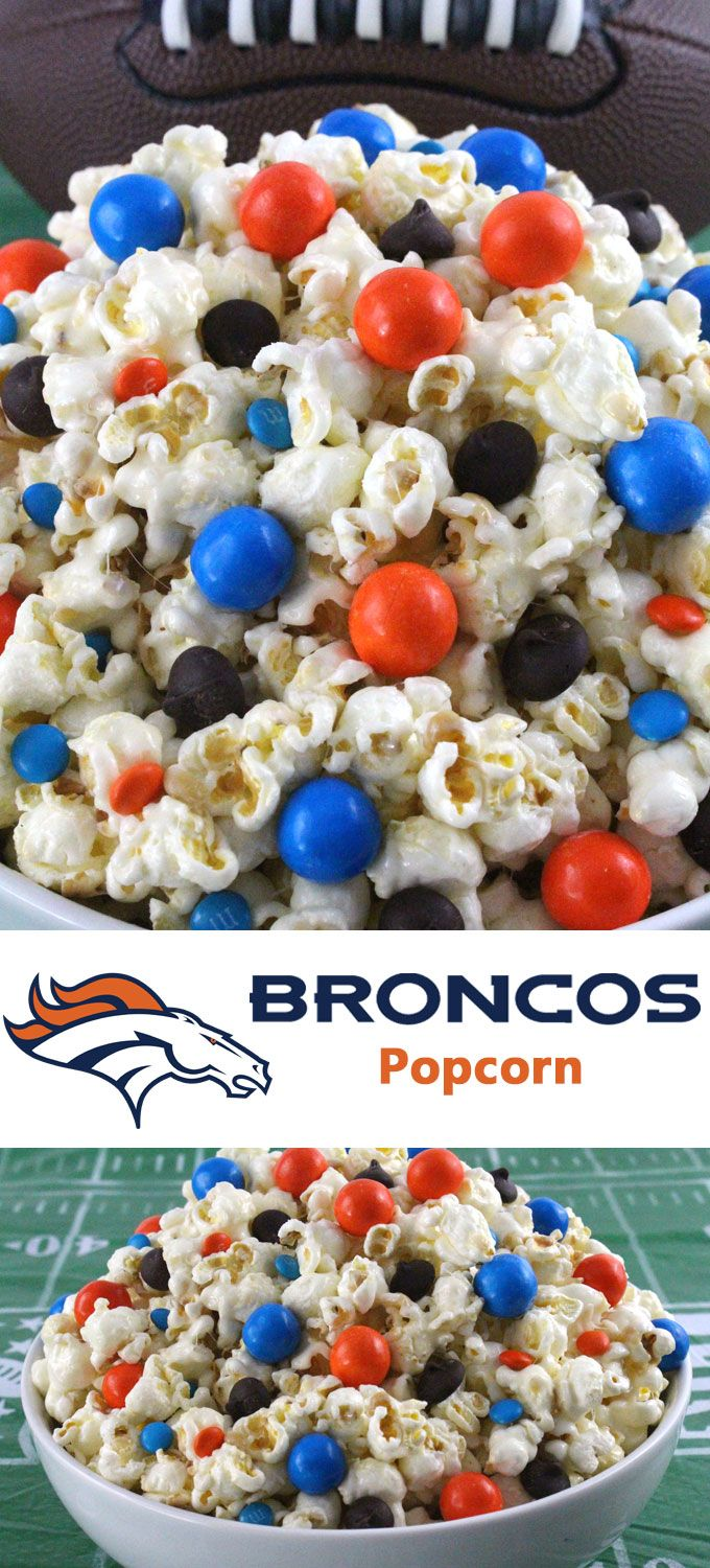 Denver Broncos Popcorn for those Denver Broncos fans in your life. Sweet, salty, crunchy and delicious and it is extremely easy to make. This delicious popcorn will be perfect at your next game day football party. a NFL playoff party or a Super Bowl party. Follow us for more fun Super Bowl Food Ideas.