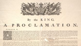In 1763, at ethe end of the French and Indian War, the British issued a proclamation,mainly intended to conciliate the Indians by checking the encroachment of settlers on their lands. In the centuries since the proclamation, it has become one of the cornerstones of Native American law in the United States and Canada.