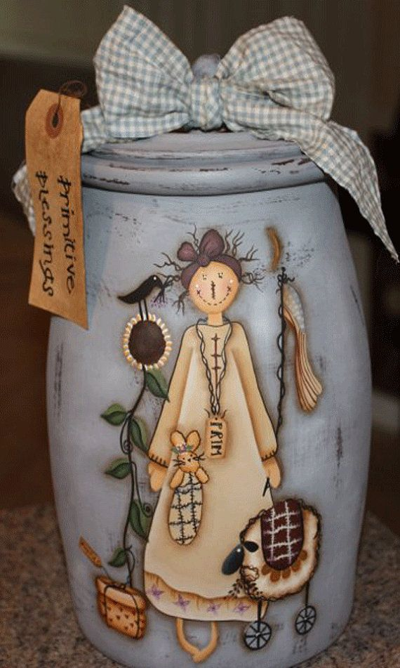 Butter Churn, Cookie Jar, Lidded Jar, Raggedy Anne Cookie Jar, Ceramic, Terrye French, MADE TO ORDER