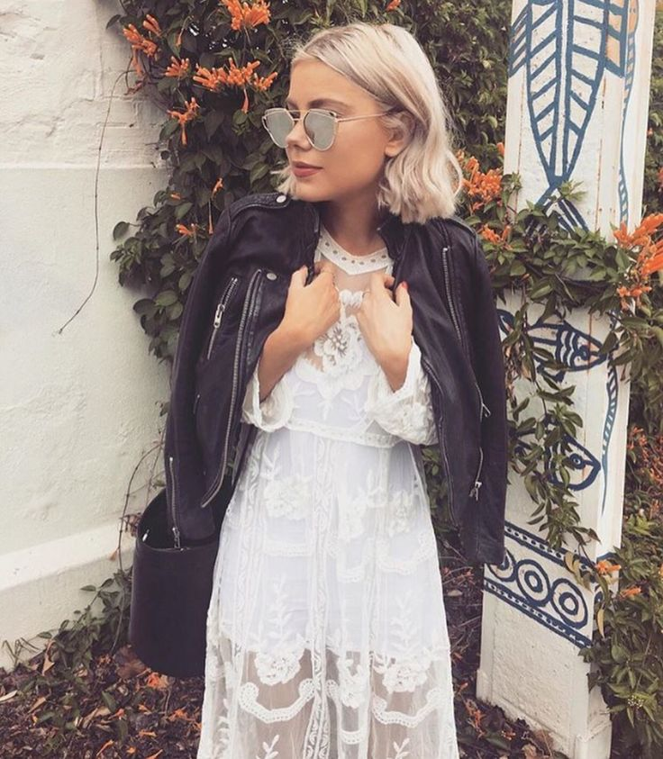 Long Sleeve Sheer Lace Midi Dress from Mermaid Blonde Boutique #ootd #lacedress #lace #dress #blonde #sunglasses #leatherjacket