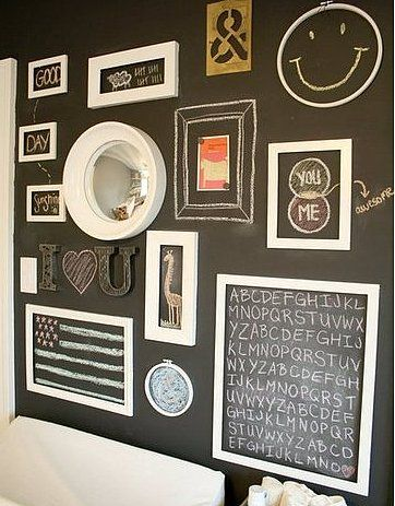 "Chalkboard Wall: ""[Paint] a whole wall with chalkboard paint for drawings."" — Becky C. of Buckets of Burlap      Photo Source: Project Nursery via LilSugar"