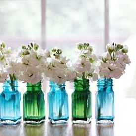 A wash of paint on the inside of salt and pepper shakers can turn them into pretty bud vases for your blooms!