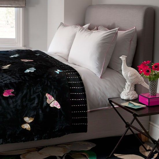 Luscious black with lovely butterfly pattern