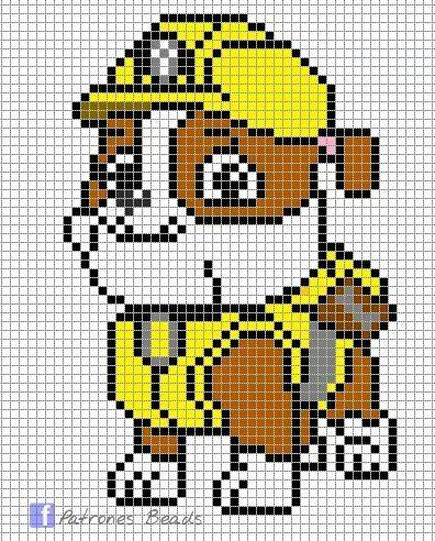 Paw Patrol Rubble Cross Stitch Crochet Perler Beads Crochet