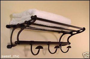 """Paris Hotel Towel Rack Shelf w/ Hooks ~ Large 26"""" in Oil Rubbed Bronze"""