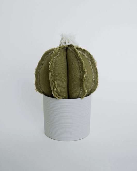 Beloved Lane | Reworked Barrel Cactus. Plush cactus, handmade in LA, upcycled from vintage/remnant fabric.