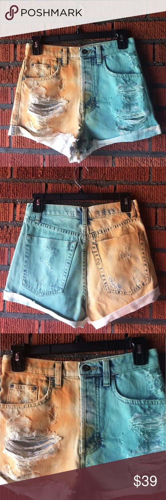 LF CARMAR high waist Denim cut off Jean shorts new CARMAR High Waist Cut Offs from LF Stores $217 retail price brand new with tag! DETAILS: Super cute two toned distressed cuffed cut off Jean shorts. Button fly. Fits true to size. Carmar Shorts Jean Shorts